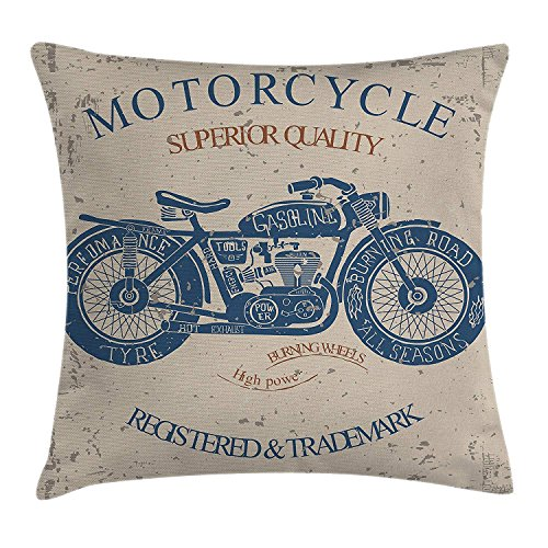 Chopper Classic Cap - apron∩ hats Vintage Throw Pillow Cushion Cover, Retro Style Bike Grunge Background Classic Wheels Chopper Rider Illustration, Decorative Square Accent Pillow Case, 18 X 18 Inches, Slate Blue Tan