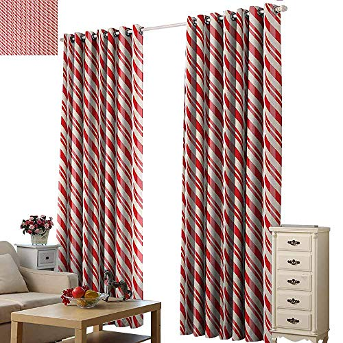 - Homrkey Warm Curtain Candy Cane Red Christmas Candies Pattern with Diagonal Stripes Traditional Winter Sweets Thermal Insulated Tie Up Curtain W108 xL96 Red Cream