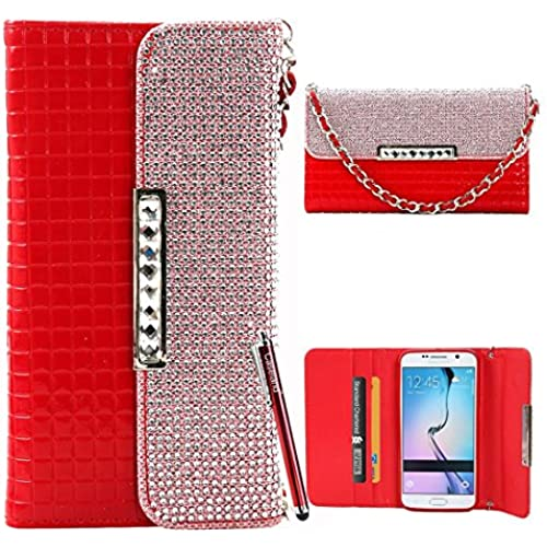 Galaxy S7 Edge Case,CASELAND [Patent Leather Pattern] Wallet Flip Handbag Case with Lanyard Bling Button Case Sales
