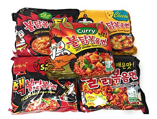 Samyang Hit Spicy Chicken Hot Ramen Noodle Buldak Variety 5 packs Nuclear, Original, Cheese Curry, Stew. Spicy Noodle Challenge! Top Korean Noodle Hit