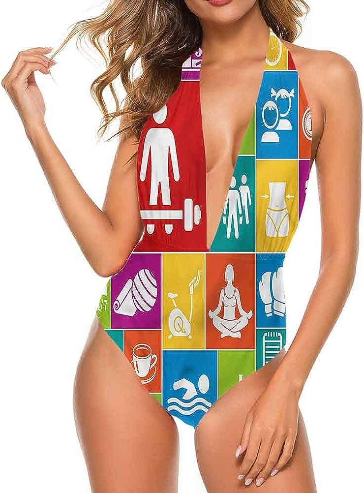 Maillot de bain athlétique Fitness, Be Active Be Healthy Style très flatteur Multicolore 12