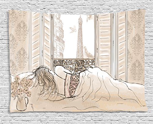 Ambesonne Paris Tapestry, Parisian Woman Sleeping with The View of Eiffiel Tower from Window Romance Skecthy Modern, Wide Wall Hanging for Bedroom Living Room Dorm, 60