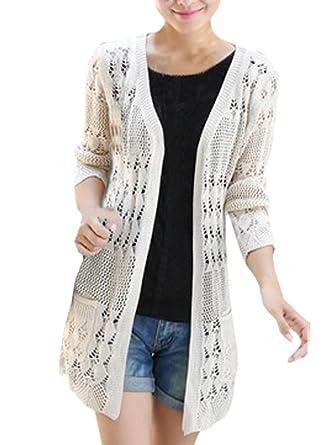 Amazon.com: shawhuaa Womens Crochet punto Frente Abierto ...