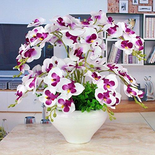 LIXIAOXIN Establece Jarrón Decoración Falso Phalaenopsis Blanco Artificial