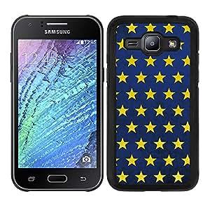 Funda carcasa para Samsung Galaxy J1 diseño estampado estrellas fondo azul envejecido borde negro