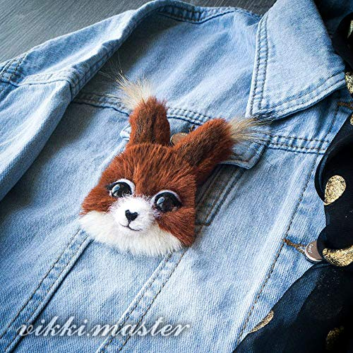 - Handmade brooch with squirrel pin for denim jacket with images of animals. Suitable for adults and children.