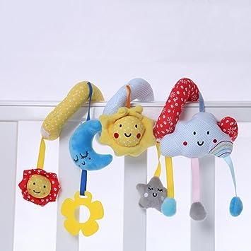 YeahiBaby Bebé infantiles de dibujos animados envolver alrededor de cuna ferroviario colgando de juguetes lindos bebés educativos juguetes blandos