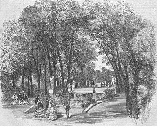 Old Antique Engraving - FRANCE. Château de St-Cloud. Terrace & Cascade, Gdns - 1855 - old antique vintage print - engraving art picture prints of France Landscapes - Illustrated Times