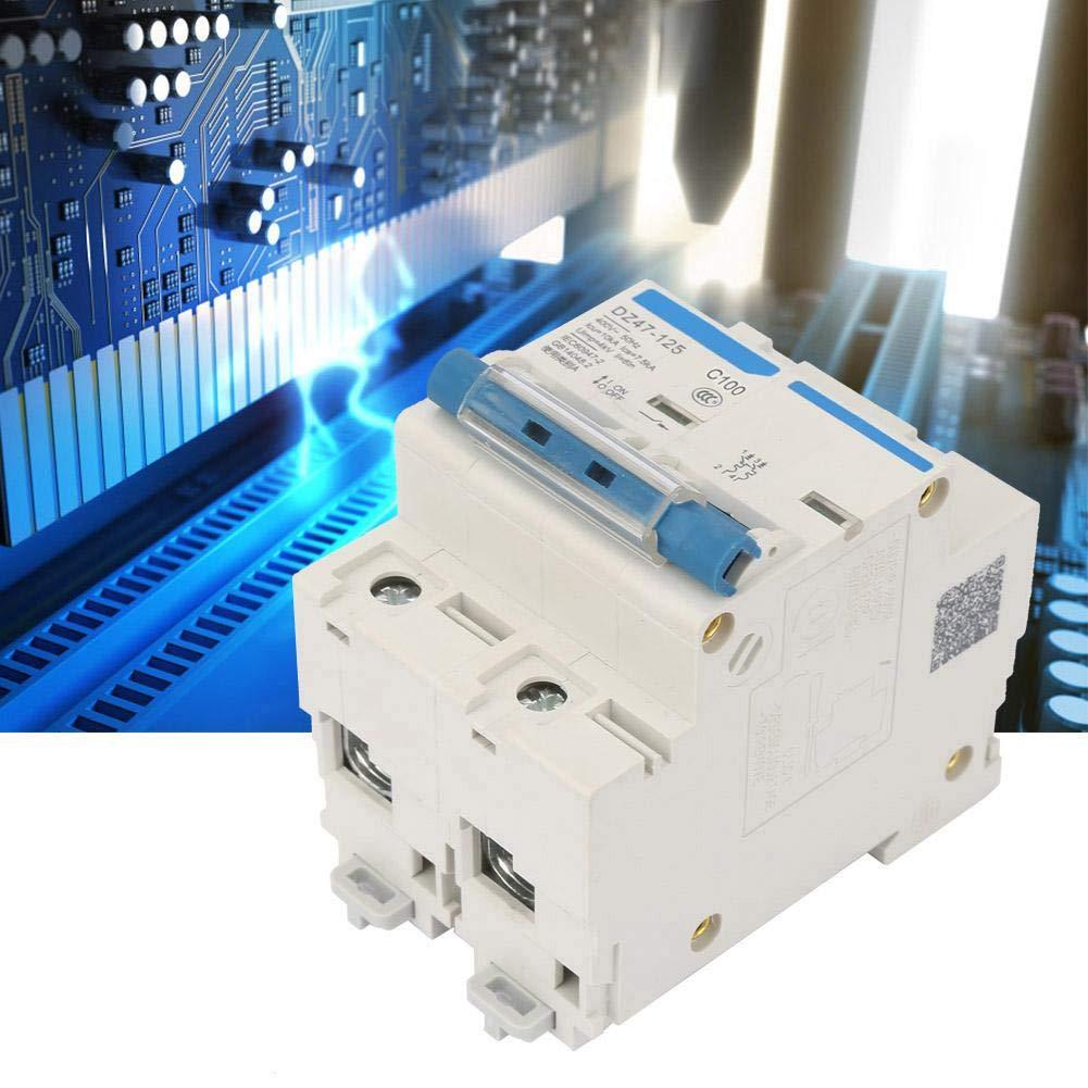 Disyuntor de corriente 400V 80//100//125A interruptor de protecci/ón contra fugas DZ47-125 2P disyuntor en miniatura 100A