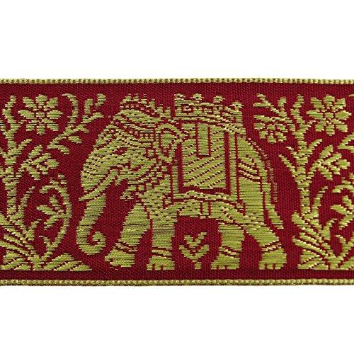 Red Designer Jacquard Trim Metallic Thread Animal Pattern Sewing Sari Lace By 3 Yards