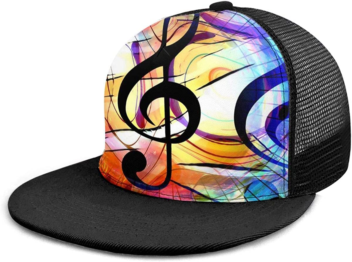 Adjustable Mesh Back Trucker Hat for Unisex Boys and Girls 100/% Polyester Music Note and Clef in Space with Stars Mesh Cap