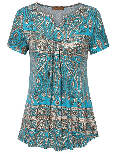 (Meow Meow Lace Women's Sweetheart V-Neck Short Sleeve Tunic Top Pleated Knit Shirts A-Green XL)