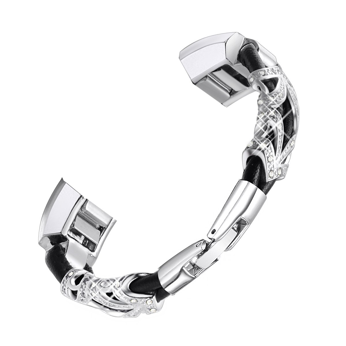 bayite Leather Bands Compatible with Fitbit Alta and Alta HR, Metal Clasp Leather Cord Wristband with Rhinestone Bling, (Silver with Rhinestone, 5.5'' - 6.7'')