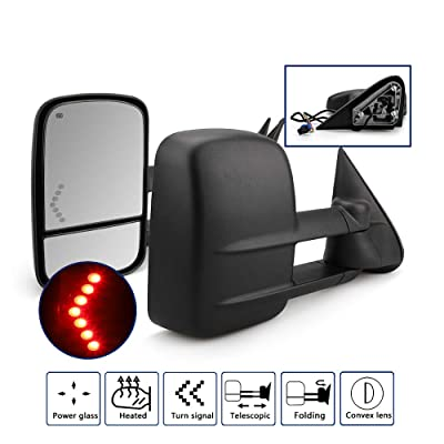 HF Autoparts Towing Mirrors for Chevy Silverado/GMC Sierra 1500 2500 HD 3500HD with Power Glass LED Arrow Turn Signal Light Backup Lamp Heated Extendable Pair Set (03-06 with Arrow Signal Light): Automotive