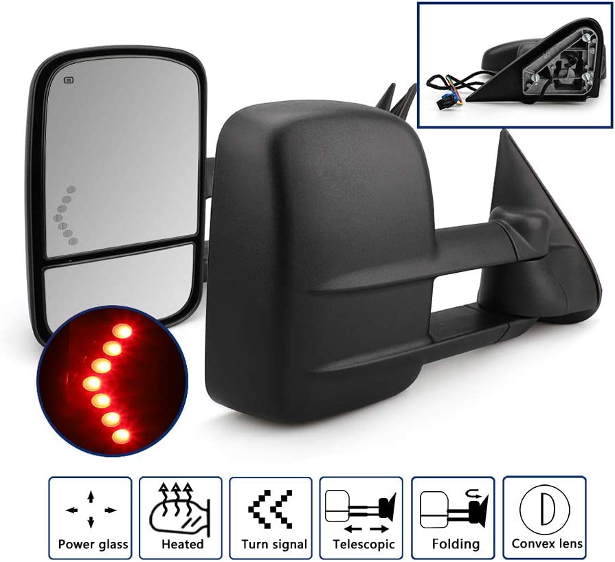 03-06with back up light Towing Mirrors for Chevy Silverado//GMC Sierra 1500 2500 HD 3500HD with Power Glass LED Arrow Turn Signal Light Backup Lamp Heated Extendable Pair Set