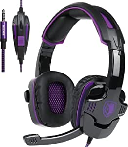 SADES SA930 3.5mm Stereo Gaming Over Ear Headphones, Purple (Electronic Games)