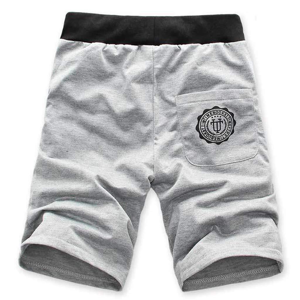 FANSHONN Mens Casual Summer Beach Shorts Sport Joggers Comfort Drawstring Short Pants