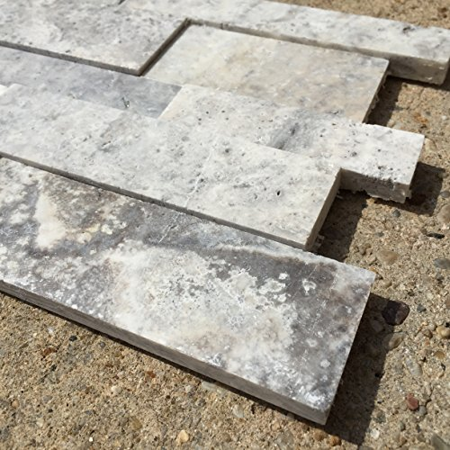 SILVER Travertine Honed Stacked 3D Ledger Wall Panel 7 In