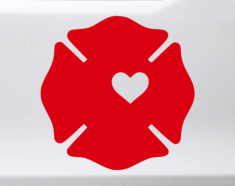 "Minglewood Trading Fireman Wife Firefighter RED Vinyl Decal Sticker 4"" x 4"" Maltese Cross Badge Heart"