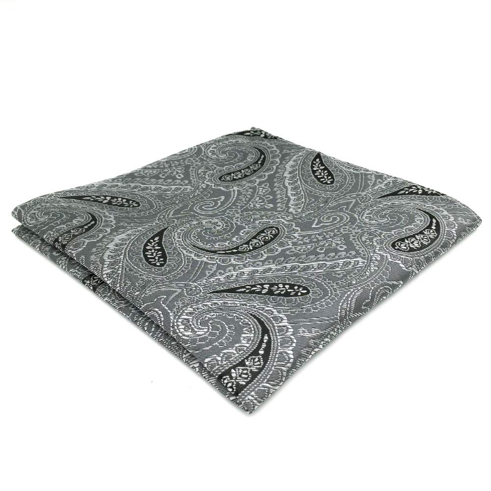Shlax& Wing Grey Black Paisley Mens Pocket Square For Business Unique Design Shlax & Wing DH30