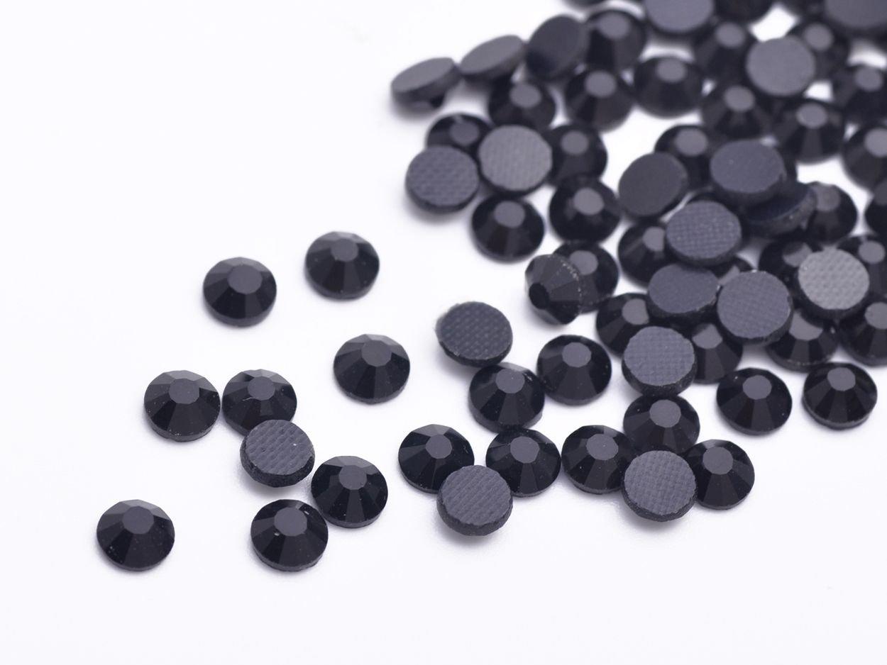 Black SS16-4MM-12Facets-500Pcs SS10 SS16 SS20 SS30 SS40 Hotfix Rhinestones Iron-on Flatback Crystal Glass DMC