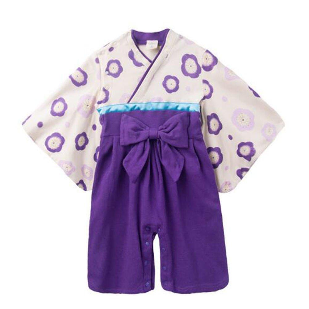 Meijunter Bébé Filles Mode Fleur Printing Jumpsuits Hakama Style Kimono Romper + Pantalons Bambin Badysuits Hiver Automne Manteau Vêtements Coverall Tenues