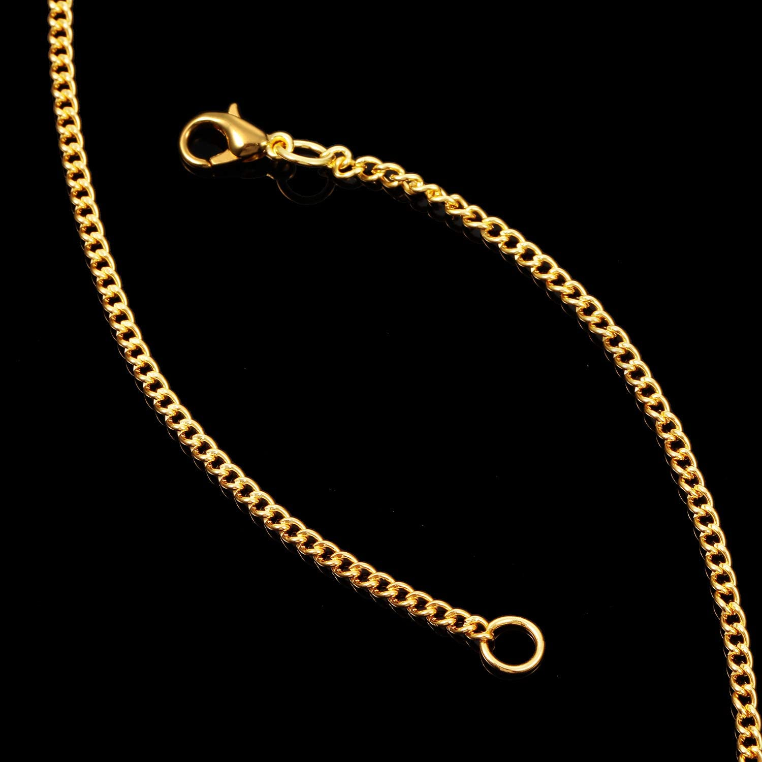20 Inch 24 Pack Necklace Chains Gold Plated DIY Link Chain Necklace with Lobster Clasps for Women DIY Jewelry Making Supplies