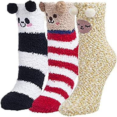 2 Pairs Winter Warm Slipper Socks Fluffy Socks Cute Animal Pattern Fuzzy Socks for Women