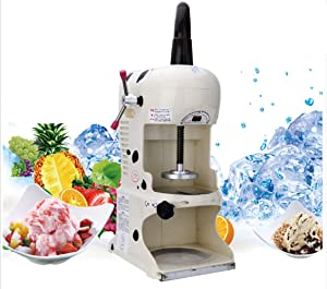 Hanchen Ice Shaver Commercial Ice Crusher Automatic Thickness Adjustable Snow Cone Maker Electric White Ice Shaving Machine for Milk Tea Shop 350W,200lbs/h(90KG/H),250-300RMP, 110V, One Year Warranty