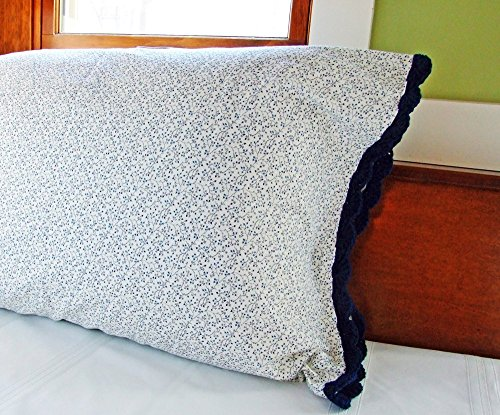 Crochet Pillow Case in NAVY HEARTS  VINES FLORAL 100% Cotton w/ NAVY Crochet Edging, One (1) Standard Size Navy Blue Pillowcase, Navy Floral Pillowca…