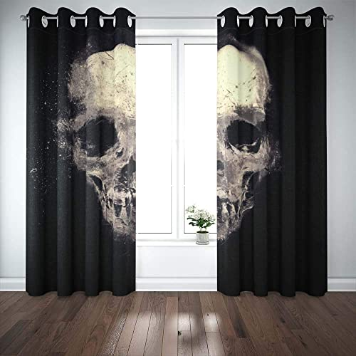 Teepel Door Window Curtain Boho Window Curtains 52 X 84 Inches 2 Panels . Scary Halloween Skull Skull Isolated Black Background Curtain