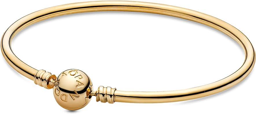 Amazon Com Pandora Jewelry Moments Bangle Charm Gold 14k Bracelet 6 7 Jewelry