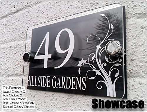 Modern Decorative Perspex Steel Aluminium Perspex Acrylic House Number Wall Plaque Sign