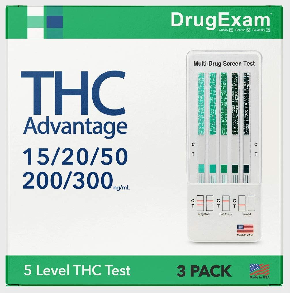3 Pack - DrugExam THC Advantage Made in USA Multi Level Marijuana Home Urine Test Kit. Highly Sensitive THC 5 Level Drug Test Kit. Detects at 15 ng/mL, 20 ng/mL, 50 ng/mL, 200 ng/mL and 300 ng/mL (3)