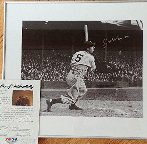 - Joe Dimaggio Signed Autograph Framed 16x20 BW Photo Silver Signed Autograph PSA/DNA Certified Hof Yankees