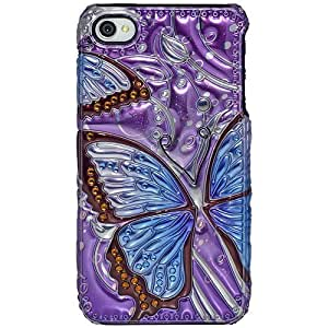 Amzer 3D Metallic Snap On Case Cover for iPhone 4 and iPhone 4S - Retail Packaging - Blue Butterfly by icecream design