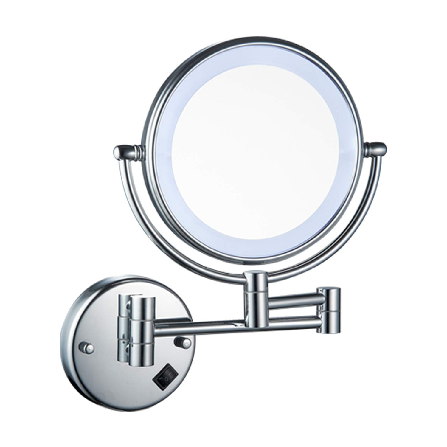 10x Magnification, Chrome Charmer LED Lighted Wall Mounted Makeup Mirror with 10x Magnification,Chrome Finish,