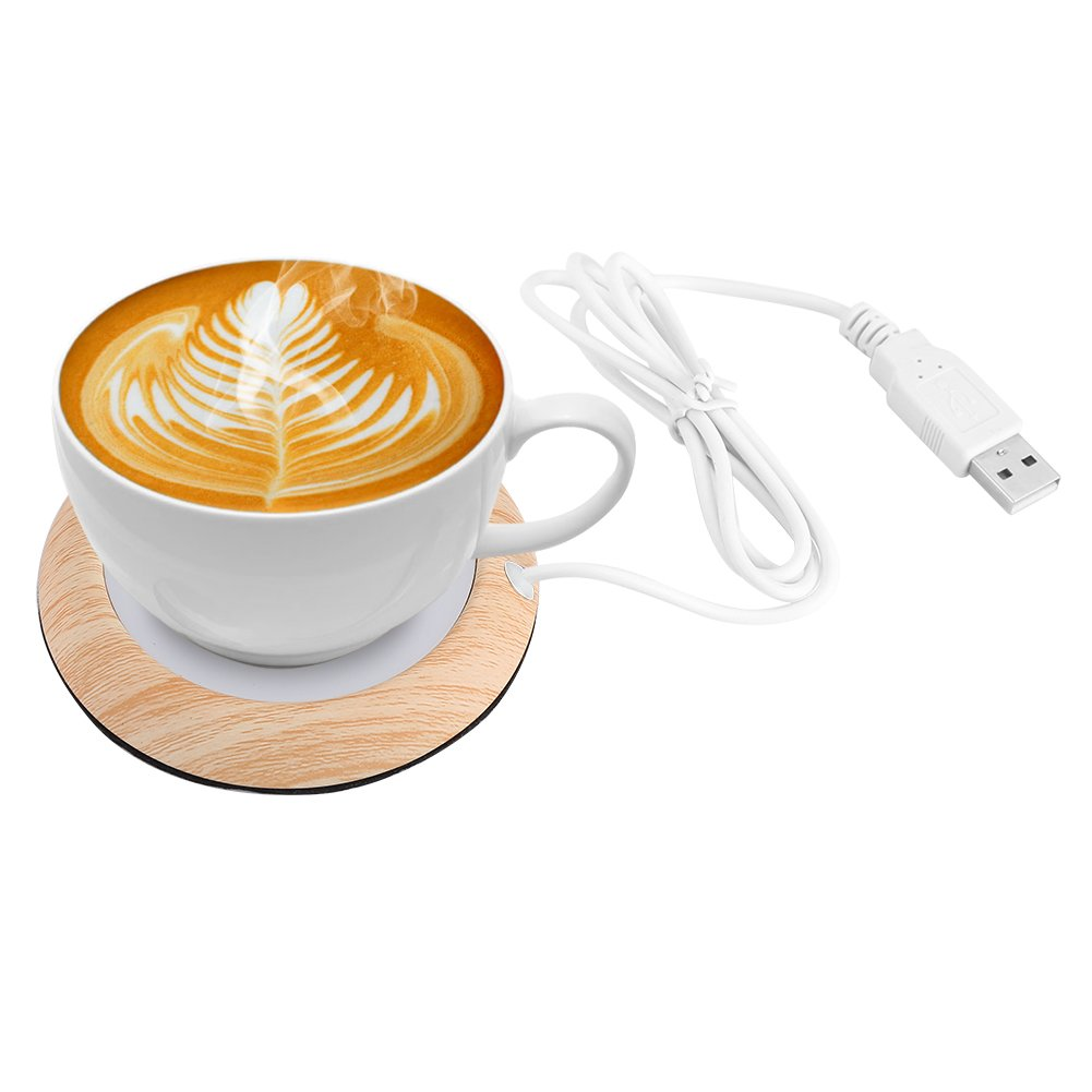 Wood Grain Electric Portable Cup Warmer Plate & Coffee Warmer & Mug Warmer with USB Cable for Office/Home/Travel Use, Suitable for Stainless Steel Cup, Ceramic Cup, Glass Cup, etc(Light Wood Grain) by Hakeeta