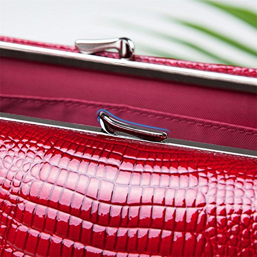 Leather Wallets for women Crocodile Grain Purse Luxury Genuine Leather Cluth Wallet Ladies Bag by COSSROLL (Image #5)