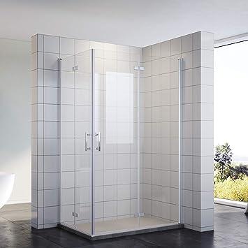Ducha cabina de ducha puerta plegable Mampara 80 x 80 esquina ...