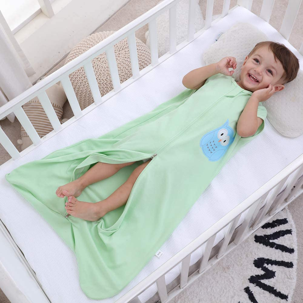 6-18 Monate pijama de algod/ón fino con b/úho verde Saco de dormir para beb/é de verano para ni/ña gris Gris monocrom/ático 0,5 tog Talla:90 cm primavera
