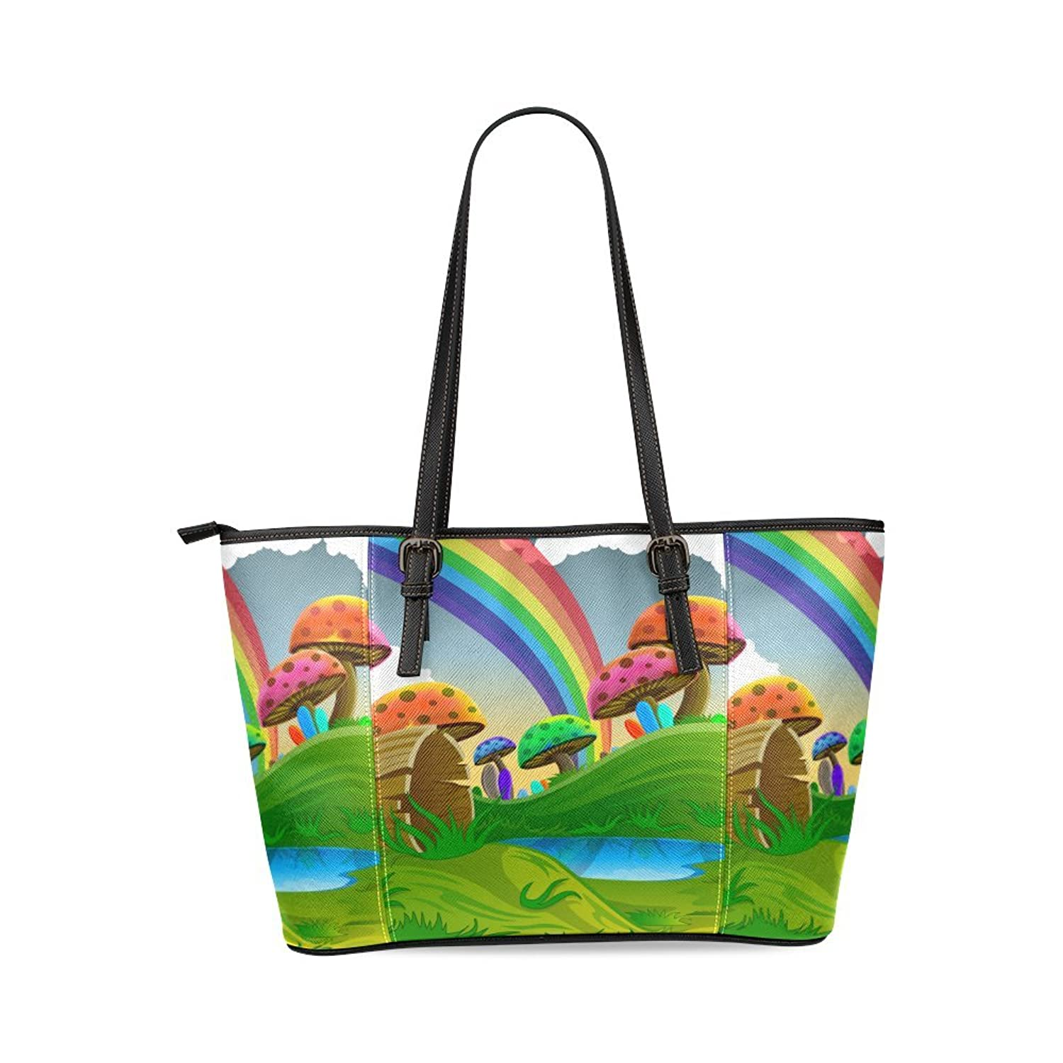 Mushroom and Rainbow Custom PU Leather Large Tote Bag/Handbag/Shoulder Bag for Fashion Women /Girls