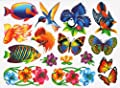 Nature Window Clings Butterflies Birds Flowers Fish Endangered Animals
