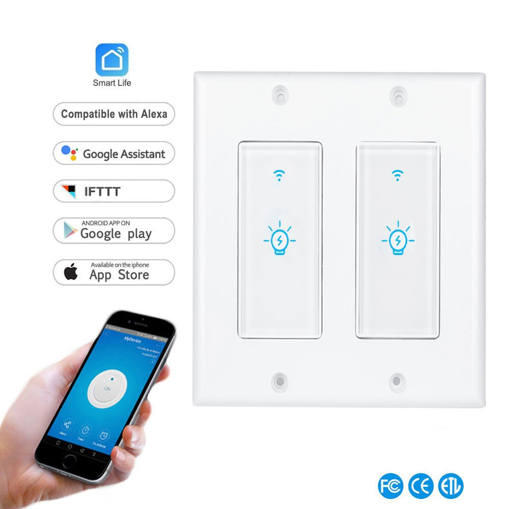 Smart Light Switch,In-wall Wireless Light Switch Compatible with Alexa and Google Home,No Hub Required,Timing Function,Overload Protection,Control Your Fixtures From Anywhere (Light Switch-2Gang)