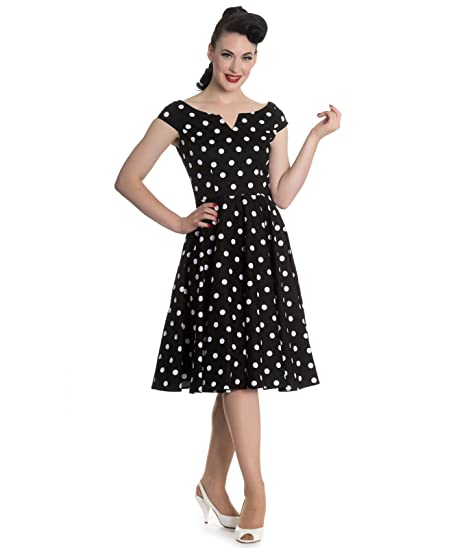 Hell Bunny 50s Nicky Vintage Stil Gepunktet Rockabilly Kleid: Amazon.de:  Bekleidung