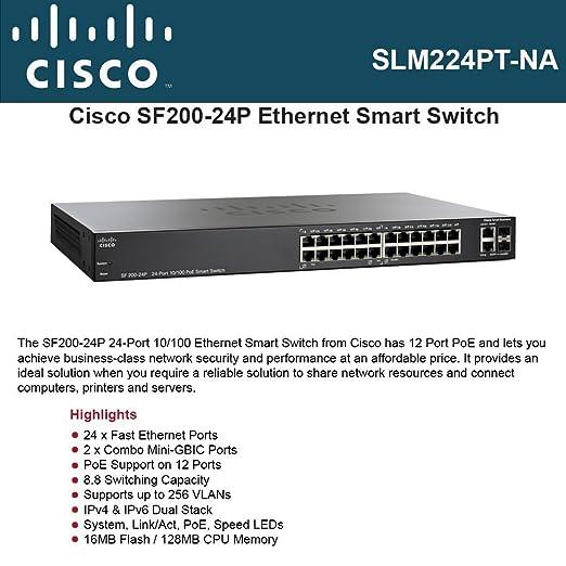 Amazon com: Cisco SF200-24P Smart Switch  SF200-24P SLM224PT-NA