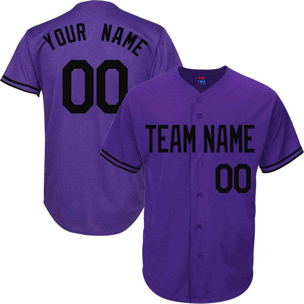 Purple Customized Baseball Jersey for Youth Throwback Embroidered Team Player Name & Numbers,Black Size 3XL by Pullonsy