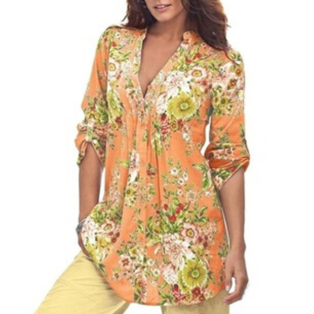 Kanhan Women Half Sleeves Shirt, Ladies Vintage Floral Print V-Neck Tunic Blouse Women's Plus Size Loose Bodycon Tops (Yellow, M)
