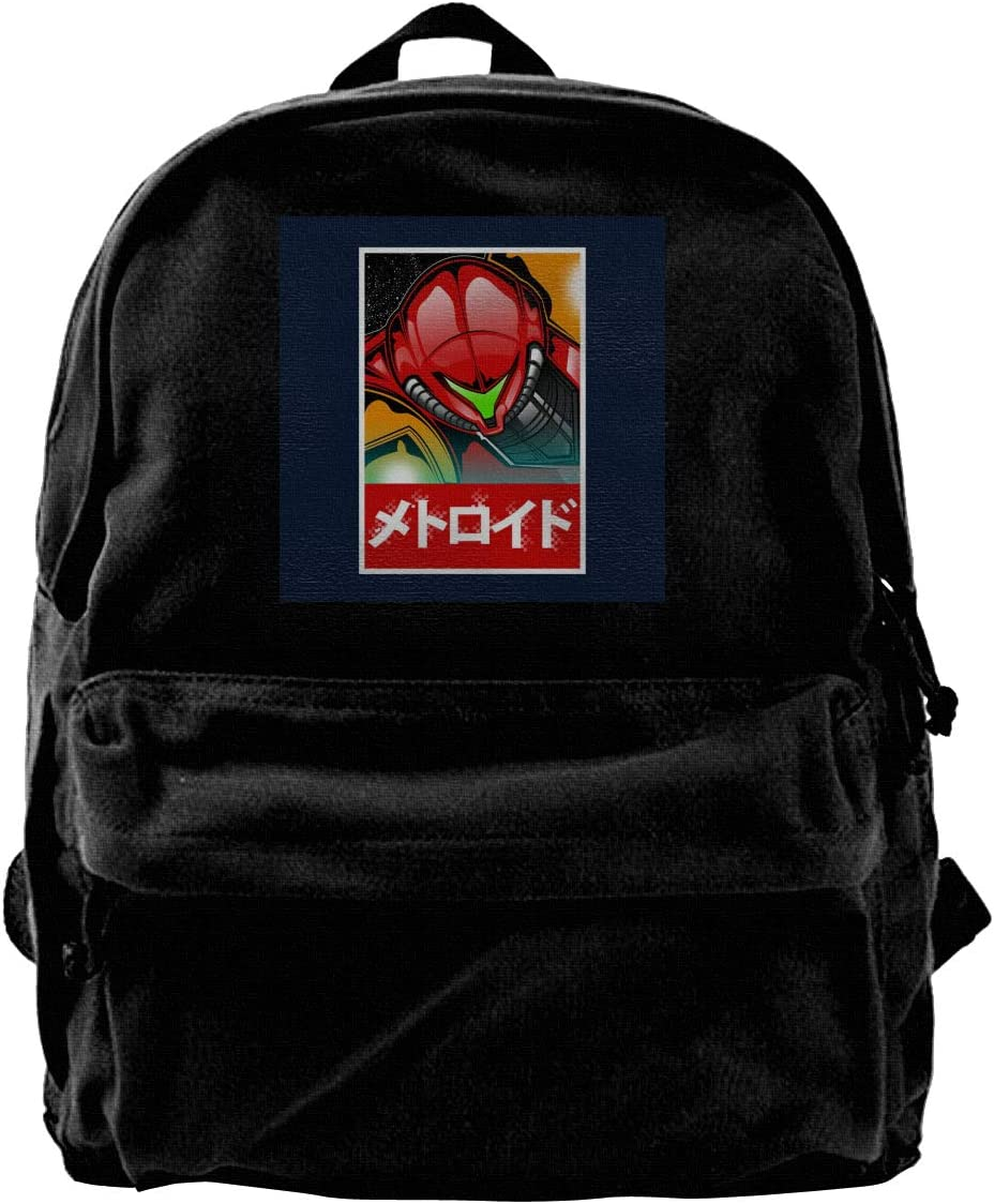 MIJUGGH Canvas Backpack Metroid Bounty Hunter Samus Aran Rucksack Gym Hiking Laptop Shoulder Bag Daypack for Men Women