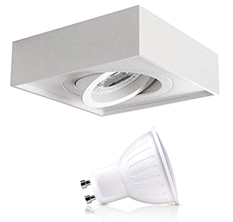 Foco LED empotrable para techo (cuadrado, IP20, orientable, incluye 1 bombilla LED